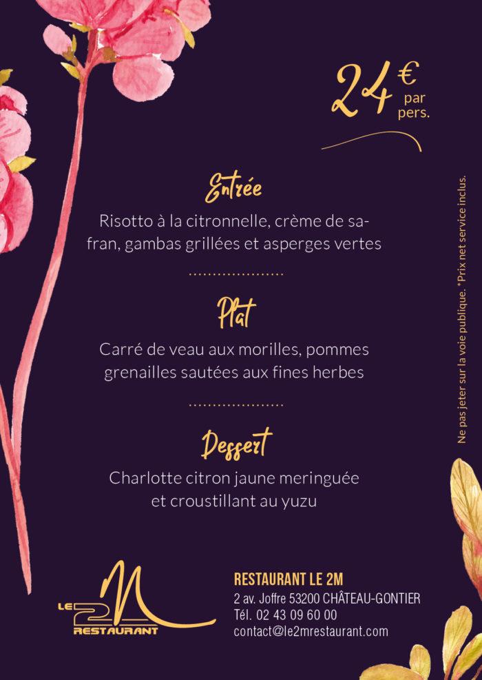 menu fête des meres le 2 m restaurant